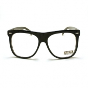 Black Frame Oversized Wayfarer Clear Lens Glasses