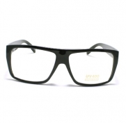 Black Mob Style Flat Top Square Plastic Clear Len Glasses