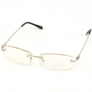 Fake Clear Lens Frameless Eyeglasses Rimless Silver