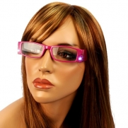 Fun LED Light Up Frame Clear Lens Reading Eye Glasses Eyeglasses Fuchsia + 2.00