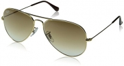 Ray-Ban RB3025 Aviator Large Metal Non-Polarized Sunglasses,Gold Frame/Crystal Brown Gradient Lens,58mm